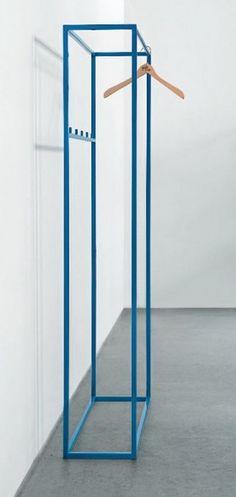 Blue powder-coated wardrobe rail by Schellmann design