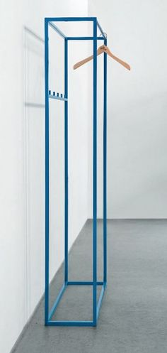 Blue powder-coated wardrobe rail by Schellmann design Diy Furniture Renovation, Diy Furniture Cheap, Diy Furniture Hacks, Furniture Legs, Barbie Furniture, Garden Furniture, Bedroom Furniture, Metallic Furniture, System Furniture
