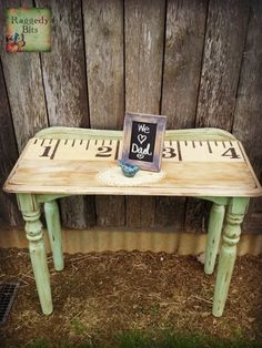 Tape Measure Side Table - I have always had a thing for old tape measures and have wanted to somehow apply it to a piece of furniture that needed some lovin!! W...
