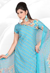 Light Blue Cotton Salwar Kameez