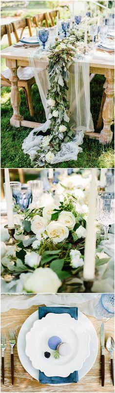 Cornflower blue linens, gauzy table runner, greenery garland, candlesticks, macarons, wood-handled cutlery // Elizabeth M Photography