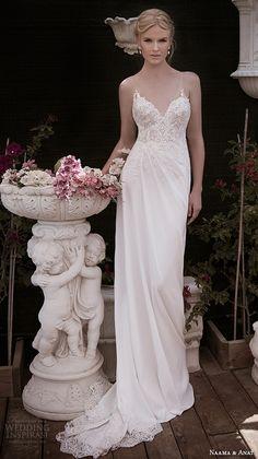 naama anat fall 2016 bridal dresses beautiful sheath wedding dress invisible strap v neckline lace embroidery bodice style harmony