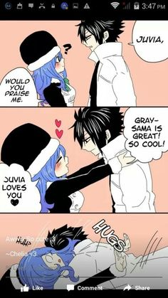 Fairy Tail Grey et Juvia Fairy Tail Meme, Fairy Tail Juvia, Fairy Tail Comics, Fairy Tail Gray, Fairy Tail Ships, Couples Fairy Tail, Fairy Tail Family, Natsu Et Lucy, Juvia And Gray