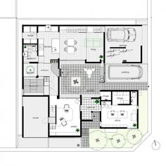 Gallery of PTL / Satoru Hirota Architects – 22 – Plan – Ansicht Law Office Design, Atrium House, Small Patio Design, Indian House Plans, Apartment Entrance, Two Bedroom House, House Blueprints, Modern Exterior, Residential Architecture