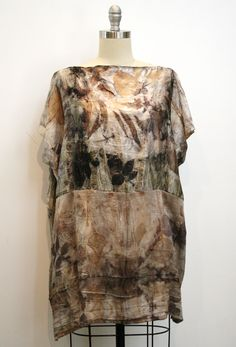 Natural Ecoprint Silk Tunic by Julie Pishny