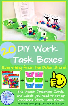 in Autism 20 DIY Work Task Boxes you can make with stuff from the Dollar Store. Printable Visuals and Directions. DIY Work Task Boxes you can make with stuff from the Dollar Store. Printable Visuals and Directions. Life Skills Classroom, Autism Classroom, Special Education Classroom, Classroom Ideas, Music Education, Vocational Tasks, Work System, Work Task, Autism Activities
