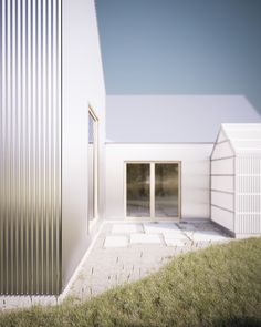 Gabled aluminium home corrugated minimalist facade 2 greenhouse thumb 38289 gabled aluminum home with corrugated Facade Design, House Design, Metal Facade, Small Courtyards, Timber Structure, Facade Architecture, Types Of Houses, Minimalist Home, Cladding