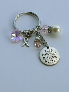 Breast Cancer keychain, Keep believing miracles happen keychain, pink keychain, keyring, pink heart
