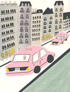 POSTERS & BOOK COVER - www.janaglatt.com, pink taxi, city, drawing, painting, car, buildings, illustration