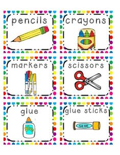 Supply Labels with bright polka dot background theme Classroom Signs, Classroom Labels, Classroom Posters, Preschool Supplies, Classroom Supplies, Pencil Labels, Blank Labels, Vocabulary Flash Cards, School Forms