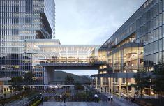 University Architecture, Museum Architecture, Commercial Architecture, Futuristic Architecture, Architecture Design, Mix Use Building, Building Design, Bridge Structure, Sky Bridge