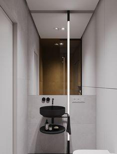Project with modular shelves - Dezign Ark (Beta) Interior Design Studio, Bathroom Interior Design, Residential Architecture, Interior Architecture, Bathroom Toilets, Bathrooms, Modular Shelving, Apartment Projects, Monochrom