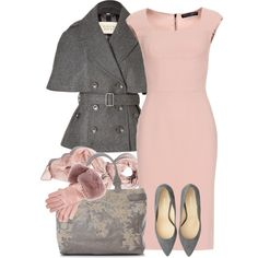 """Pink & Grey"" by yasminasdream on Polyvore"