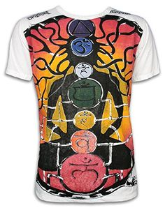 MIRROR Herren T-Shirt - Guru Chakras Größe M L XL Hindu Buddha Goa Techno Trance Party Alternativer Lebensstil (Weiss M)