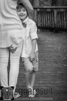 Colwell Family - Squaresuit Photography and Photo Restoration - mother, son, pose idea, black and white, outdoors, boardwalk