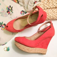 Zara Pink Peep toe Wedge Oh my! These are so amazing! Coral pink faux suede wedge from Zara Basic. Small mark on left side of left heel pictured above. Otherwise perfect. Size 37 Euro, US 6.5 Zara Shoes Wedges