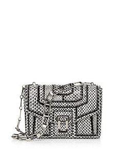 Proenza Schouler Hava Snake Patchwork Chain Shoulder Bag - Black-White