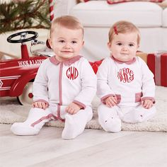 Monogrammed Velour Footed Sleeper, Twins Christmas, Baby Girl christmas, Mudpie Santa, Santa Claus, First Christmas, Matching Pajamas