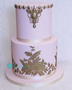 Pink and Gold Wedding - Cake by Boutique Cakery