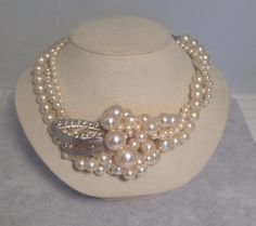 Vintage Pearl Bridal Necklace Silver Tone Statement by ravished, $52.00