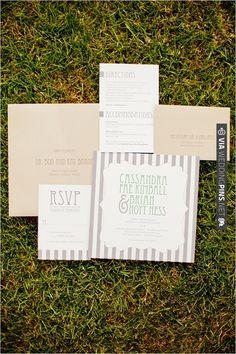 grey and white stripe invites   VIA #WEDDINGPINS.NET