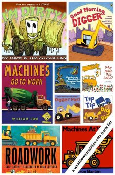 10 books about construction work and trucks. Kids will love these. >>  Plus, it includes a free coloring page from Good Morning Digger!