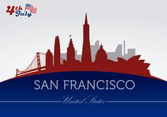 Background of San Francisco city silhouettes with July 4th commemoration theme with buildings and landmarks in colors of USA flag. High quality JPG included. Under Commons 4.0. Attribution License.