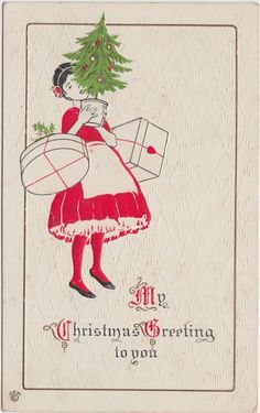 MERRY CHRISTMAS Greetings Holiday Postcard c1910 Woman TREE Gift BOXES artsy 72