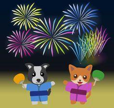 花火大会を見ている犬と猫