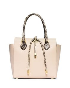 Michael Kors Collection Miranda Medium Python-Trim Tote Bag, Vanilla 358e32c0c2