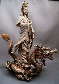 Kwan Yin rides Dragon's back