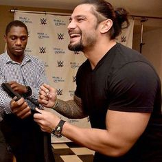 Not that it's easy to choose, but this one may be my favorite. That genuine smile! Roman Reigns Smile, Wwe Roman Reigns, Dean Ambrose Seth Rollins, Beautiful Joe, Roman Regins, Roman Warriors, Deep Set Eyes, High Cheekbones, Genuine Smile