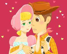 bo peep woody toy story love illustration