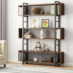 Tribesigns Bookshelf with Metal Wire, Vintage Industrial Bookcase Display Shelf Storage Organizer with Metal Frame for Home Office, L x D x 71 H (Retro Brown) Metal Furniture, Industrial Furniture, Diy Furniture, Furniture Design, Industrial Bookshelf, Modern Furniture, Wood Shelves, Display Shelves, Storage Shelves