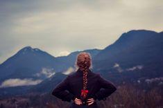 beautiful mountains view, beautiful red braid