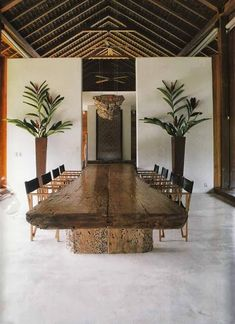 i have a massive wood table similar at jawhara .also custom made available ! - Home Decoration - Interior Design Ideas Bali House, Interior Architecture, Interior And Exterior, Interior Plants, Room Interior, Dining Room Table, Wood Table, Rustic Table, 12 Person Dining Table