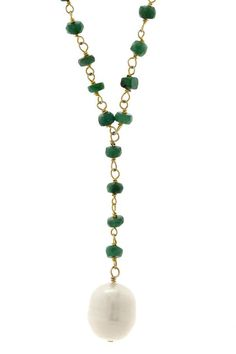 18k Gold Plated Emerald and Pearl Drop Necklace Presenting alluring looks with an edge of glamour, Liv Oliver caters to today