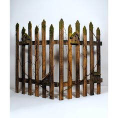 GCA International Wood Moss Picket Fence Décor ($45) ❤ liked on Polyvore featuring home, home decor, holiday decorations, rustic home decor, wood home decor, rustic wood home decor, wooden home decor and easter home decor