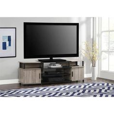 Carson 50 TV Console Sonoma Oak Black Ameriwood Home Brown