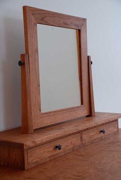 Handmade solid cherry hardwood dressing table, mission style with three hand-cut dovetail drawers and a swivel mirror. Dovetail Drawers, Dressing Table, Mirrors, Hardwood, Furniture, Home Decor, Style, Swag, Natural Wood