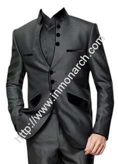 Ultimate look dark grey Indian mens tuxedo suit made from polyester fabric.