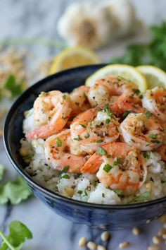 Lemon Shrimp with Garlic and Herbs - This dish can be on your table from the freezer within 20 minutes, and it's only 230 calories per serving!