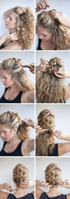 15 Incredible Hairstyle Tutorials for Curly Hair Hair Romance hairstyle tutorial - The French Twist and Pin in curly hair -- I could only wish for hair this thick and lovely. My hair and this style would look like I had blonde pimples on my head. Up Hairstyles, Pretty Hairstyles, French Hairstyles, Wedding Hairstyles, Curly Haircuts, Popular Hairstyles, Office Hairstyles, 1950s Hairstyles, Ethnic Hairstyles