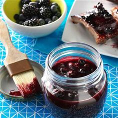 Berry BBQ Sauce Recipe -On weekends, I jazz up our favorite BBQ sauce with blackberries and blueberries. They make a marvelous spread for basting and saucing grilled baby back ribs. —Janet Hix, Austin, Texas