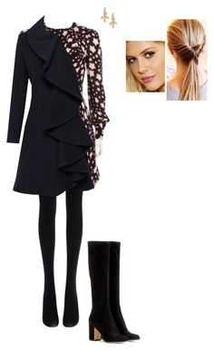 """""""Untitled #8783"""" by gracebeckett on Polyvore featuring Fogal, Yves Saint Laurent, Helene Berman, Gianvito Rossi and Temple St. Clair"""