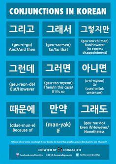 Conjunctions in Korean~ Another grammar day,. - Let's Learn Korean Korean Verbs, Korean Phrases, Korean Quotes, Learn Basic Korean, How To Speak Korean, Korean Words Learning, Japanese Language Learning, Learn Korean Alphabet, Learn Hangul