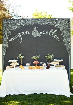Brides: Wedding Cake Backdrop Ideas: Dessert-Table Backdrops with Calligraphy