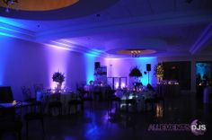 Blue and Purple Wall Wash Lighting by All Events DJs - NC Wedding Lighting Design