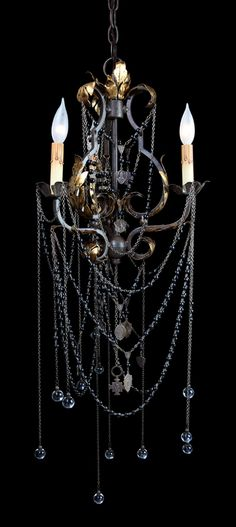 Tuscan Chandelier - rosary accents