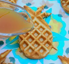 Pineapple Waffles and Syrup
